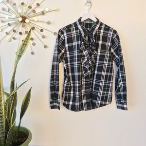 Lauren Ralph Lauren Plaid ruffle front button XL